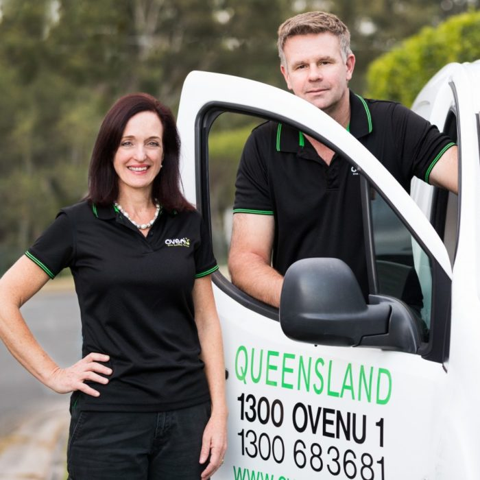 Professional oven cleaners stood outside with Ovenu van
