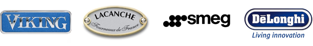 Accredited badges from Viking, Lacanche, Smeg and DeLonghi