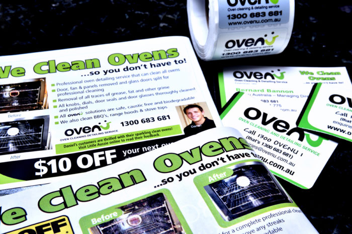 Ovenu oven cleaning leaflets and stickers