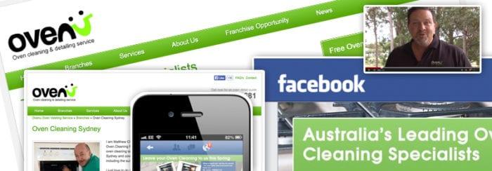 Screenshots of Ovenu's professional digital marketing material